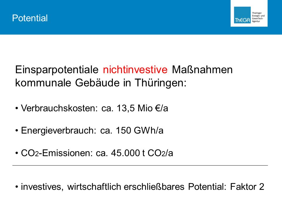 Einsparpotentiale nichtinvestive Maßnahmen kommunale Gebäude in Thüringen: Verbrauchskosten: ca.