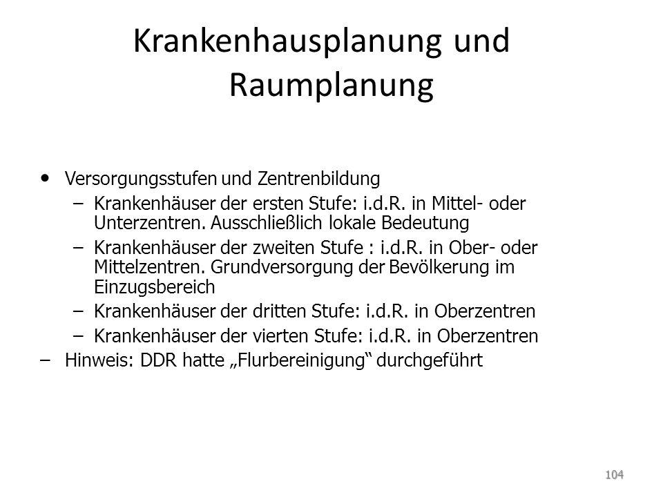 Krankenhausplanung und Raumplanung Versorgungsstufen und Zentrenbildung – –Krankenhäuser der ersten Stufe: i.d.R.