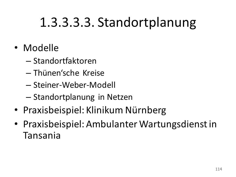 1.3.3.3.3. Standortplanung Modelle – Standortfaktoren – Thünen'sche Kreise – Steiner-Weber-Modell – Standortplanung in Netzen Praxisbeispiel: Klinikum
