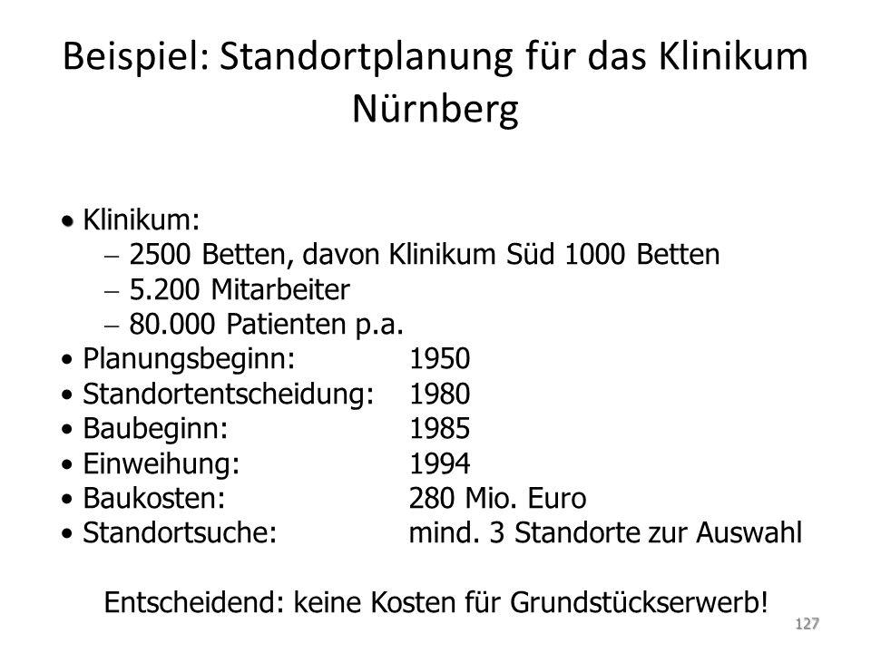 Beispiel: Standortplanung für das Klinikum Nürnberg Klinikum:   2500 Betten, davon Klinikum Süd 1000 Betten   5.200 Mitarbeiter   80.000 Patienten p.a.