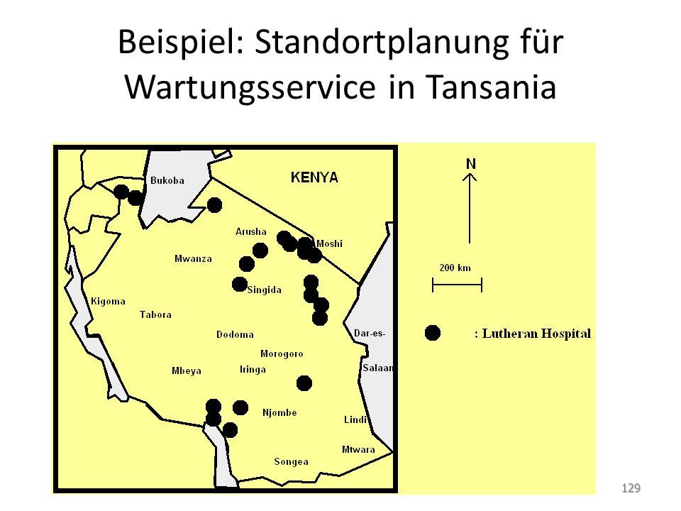 Beispiel: Standortplanung für Wartungsservice in Tansania 129