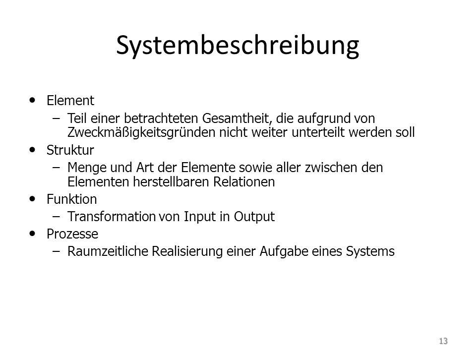 Element – –Teil einer betrachteten Gesamtheit, die aufgrund von Zweckmäßigkeitsgründen nicht weiter unterteilt werden soll Struktur – –Menge und Art der Elemente sowie aller zwischen den Elementen herstellbaren Relationen Funktion – –Transformation von Input in Output Prozesse – –Raumzeitliche Realisierung einer Aufgabe eines Systems Systembeschreibung 13