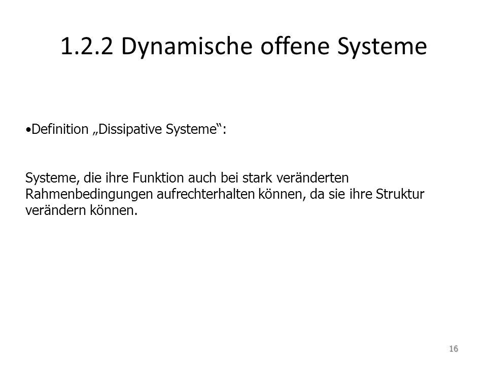 """1.2.2 Dynamische offene Systeme Definition """"Dissipative Systeme : Systeme, die ihre Funktion auch bei stark veränderten Rahmenbedingungen aufrechterhalten können, da sie ihre Struktur verändern können."""