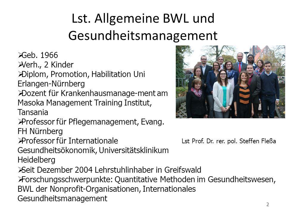 Lst. Allgemeine BWL und Gesundheitsmanagement   Geb. 1966   Verh., 2 Kinder   Diplom, Promotion, Habilitation Uni Erlangen-Nürnberg   Dozent f