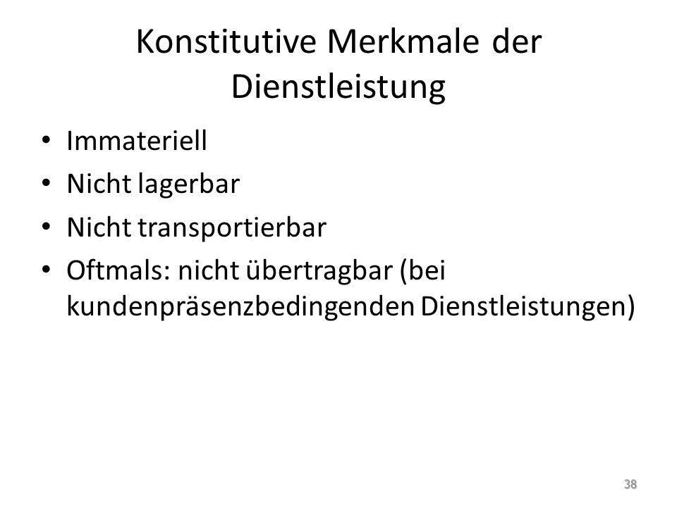 Konstitutive Merkmale der Dienstleistung Immateriell Nicht lagerbar Nicht transportierbar Oftmals: nicht übertragbar (bei kundenpräsenzbedingenden Dienstleistungen) 38