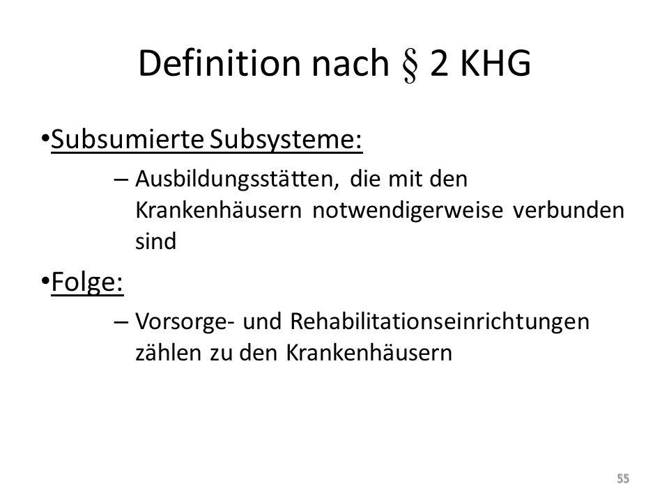 Definition nach § 2 KHG Subsumierte Subsysteme: – Ausbildungsstätten, die mit den Krankenhäusern notwendigerweise verbunden sind Folge: – Vorsorge- und Rehabilitationseinrichtungen zählen zu den Krankenhäusern 55