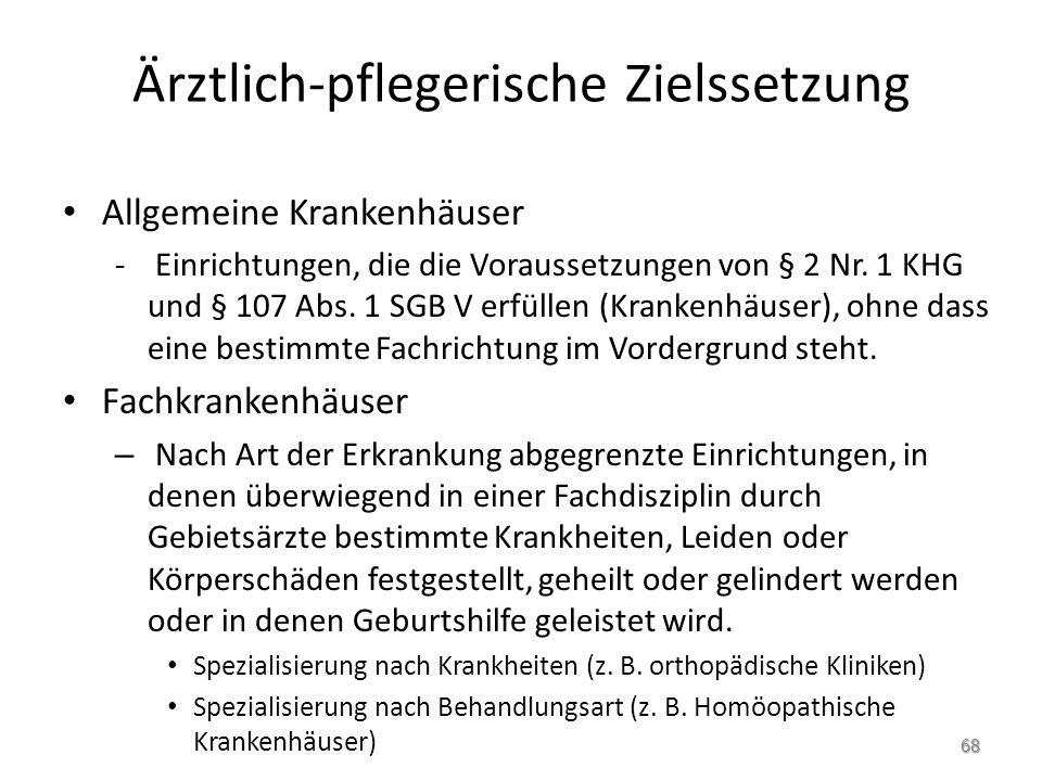 Ärztlich-pflegerische Zielssetzung Allgemeine Krankenhäuser - Einrichtungen, die die Voraussetzungen von § 2 Nr.