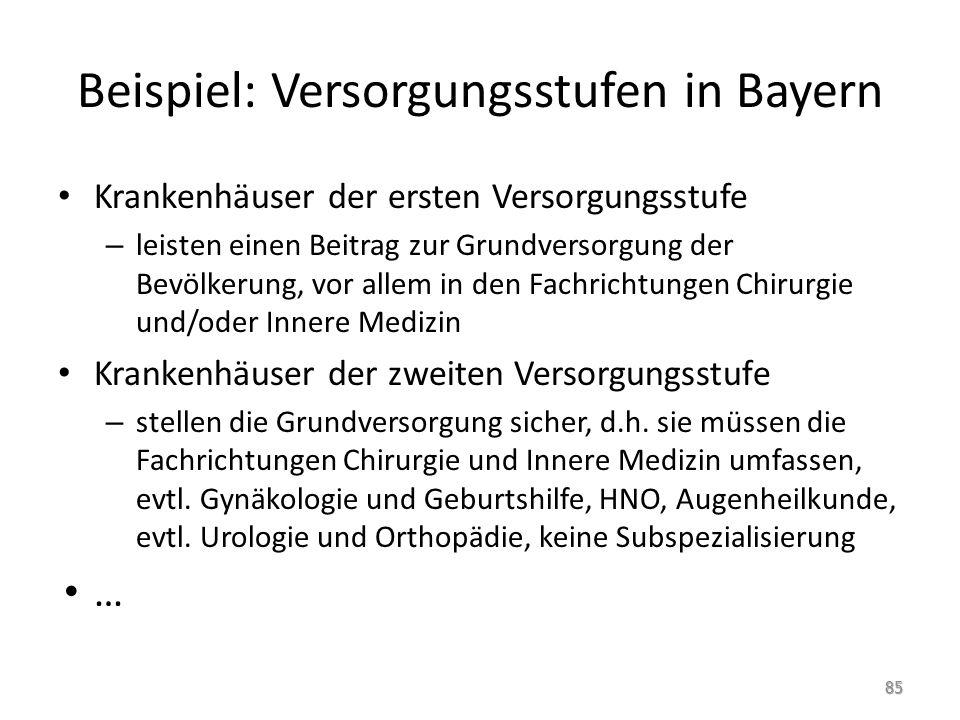 Beispiel: Versorgungsstufen in Bayern Krankenhäuser der ersten Versorgungsstufe – leisten einen Beitrag zur Grundversorgung der Bevölkerung, vor allem in den Fachrichtungen Chirurgie und/oder Innere Medizin Krankenhäuser der zweiten Versorgungsstufe – stellen die Grundversorgung sicher, d.h.
