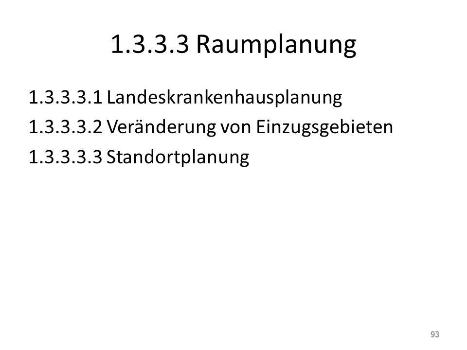 1.3.3.3 Raumplanung 1.3.3.3.1 Landeskrankenhausplanung 1.3.3.3.2 Veränderung von Einzugsgebieten 1.3.3.3.3 Standortplanung 93
