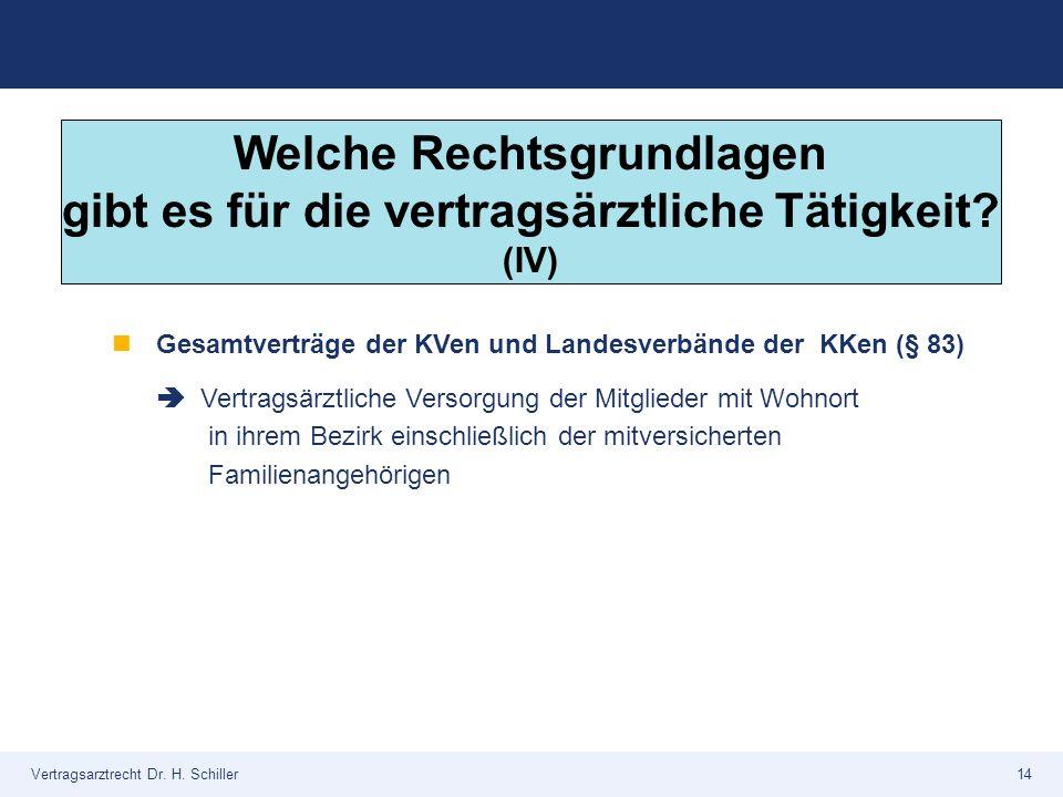 Vertragsarztrecht Dr. H. Schiller14 Gesamtverträge der KVen und Landesverbände der KKen (§ 83)  Vertragsärztliche Versorgung der Mitglieder mit Wohno