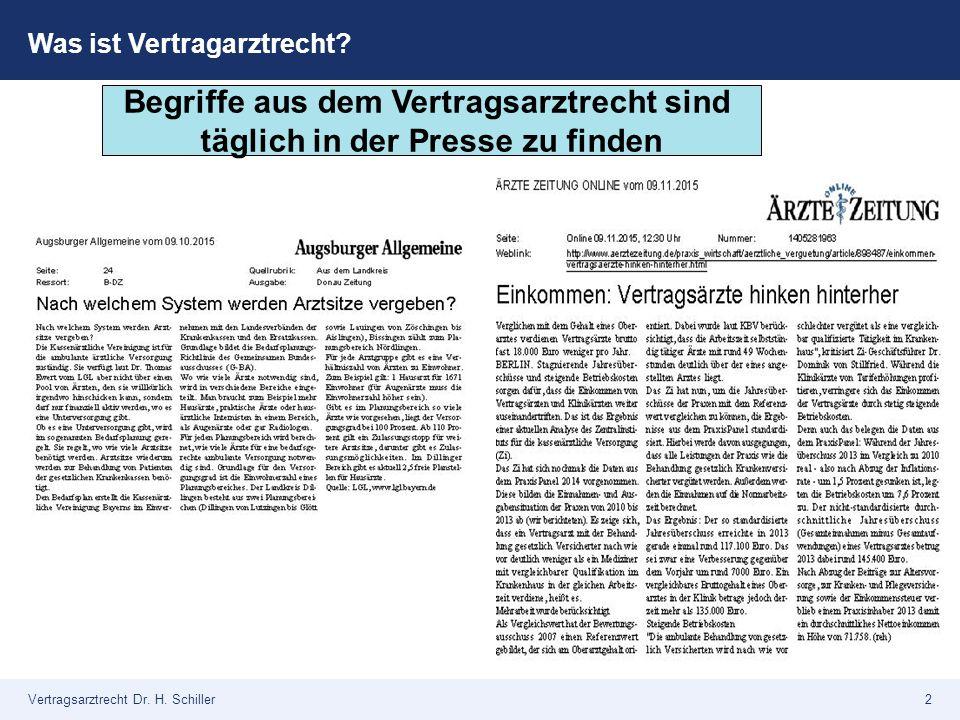 2 Was ist Vertragarztrecht? Begriffe aus dem Vertragsarztrecht sind täglich in der Presse zu finden