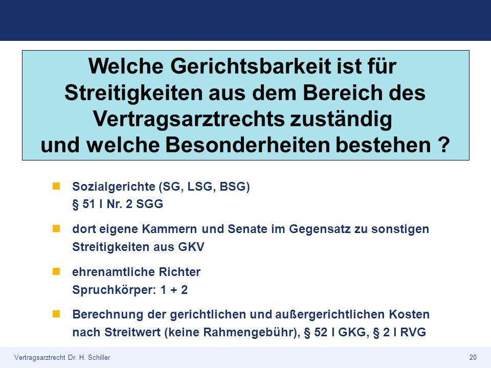 Vertragsarztrecht Dr. H. Schiller20 Sozialgerichte (SG, LSG, BSG) § 51 I Nr. 2 SGG dort eigene Kammern und Senate im Gegensatz zu sonstigen Streitigke