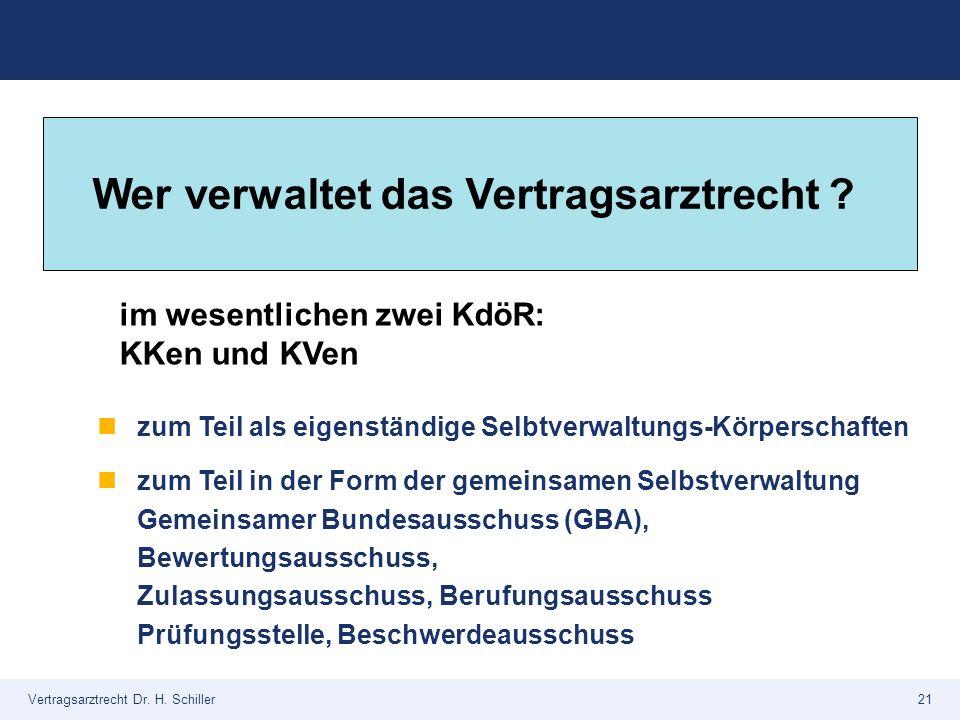 Vertragsarztrecht Dr. H. Schiller21 zum Teil als eigenständige Selbtverwaltungs-Körperschaften zum Teil in der Form der gemeinsamen Selbstverwaltung G