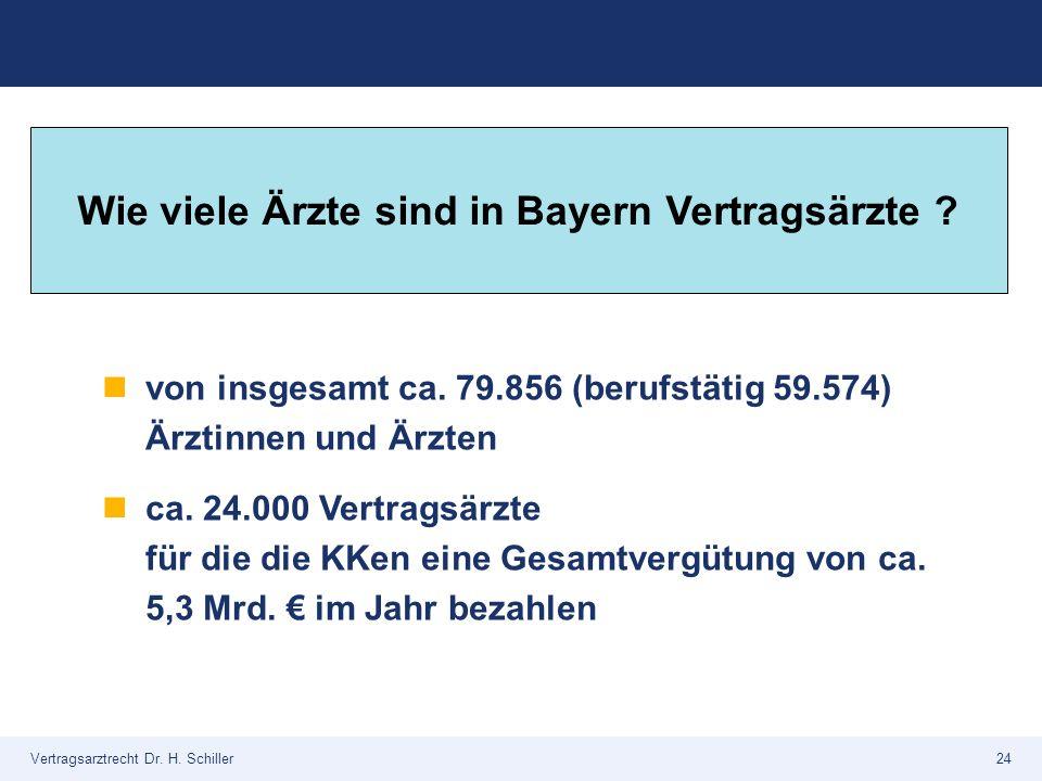 Vertragsarztrecht Dr. H. Schiller24 von insgesamt ca. 79.856 (berufstätig 59.574) Ärztinnen und Ärzten ca. 24.000 Vertragsärzte für die die KKen eine