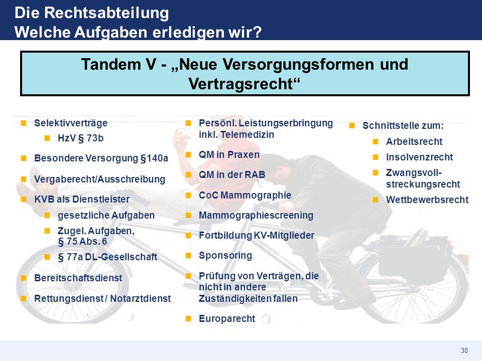 """Die Rechtsabteilung Welche Aufgaben erledigen wir? Tandem V - """"Neue Versorgungsformen und Vertragsrecht"""" Selektivverträge HzV § 73b Besondere Versorgu"""