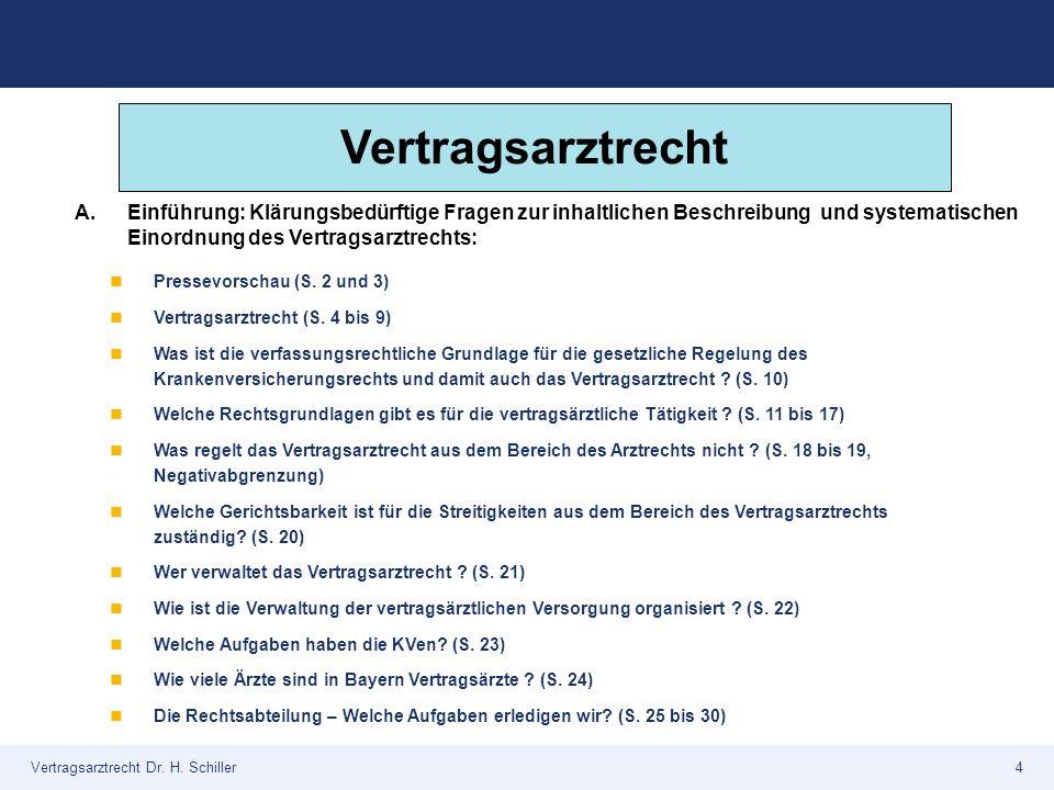 Vertragsarztrecht Dr. H. Schiller4 Pressevorschau (S. 2 und 3) Vertragsarztrecht (S. 4 bis 9) Was ist die verfassungsrechtliche Grundlage für die gese