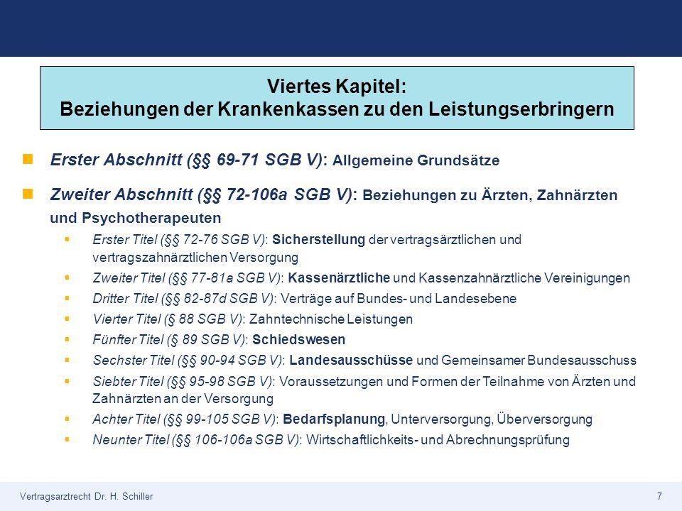 Vertragsarztrecht Dr. H. Schiller7 Erster Abschnitt (§§ 69-71 SGB V): Allgemeine Grundsätze Zweiter Abschnitt (§§ 72-106a SGB V): Beziehungen zu Ärzte