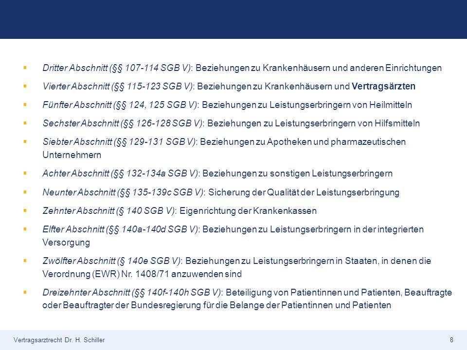Vertragsarztrecht Dr. H. Schiller8  Dritter Abschnitt (§§ 107-114 SGB V): Beziehungen zu Krankenhäusern und anderen Einrichtungen  Vierter Abschnitt