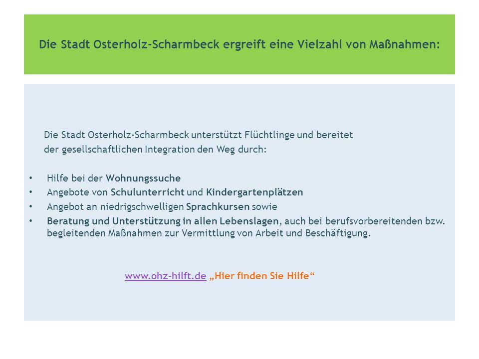 Die Stadt Osterholz-Scharmbeck fördert die insgesamt breite Zustimmung der Öffentlichkeit für die Aufnahme von Menschen in Not.