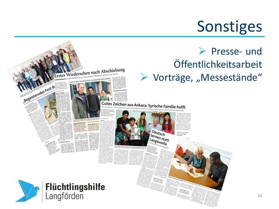 """Sonstiges 16  Presse- und Öffentlichkeitsarbeit  Vorträge, """"Messestände"""