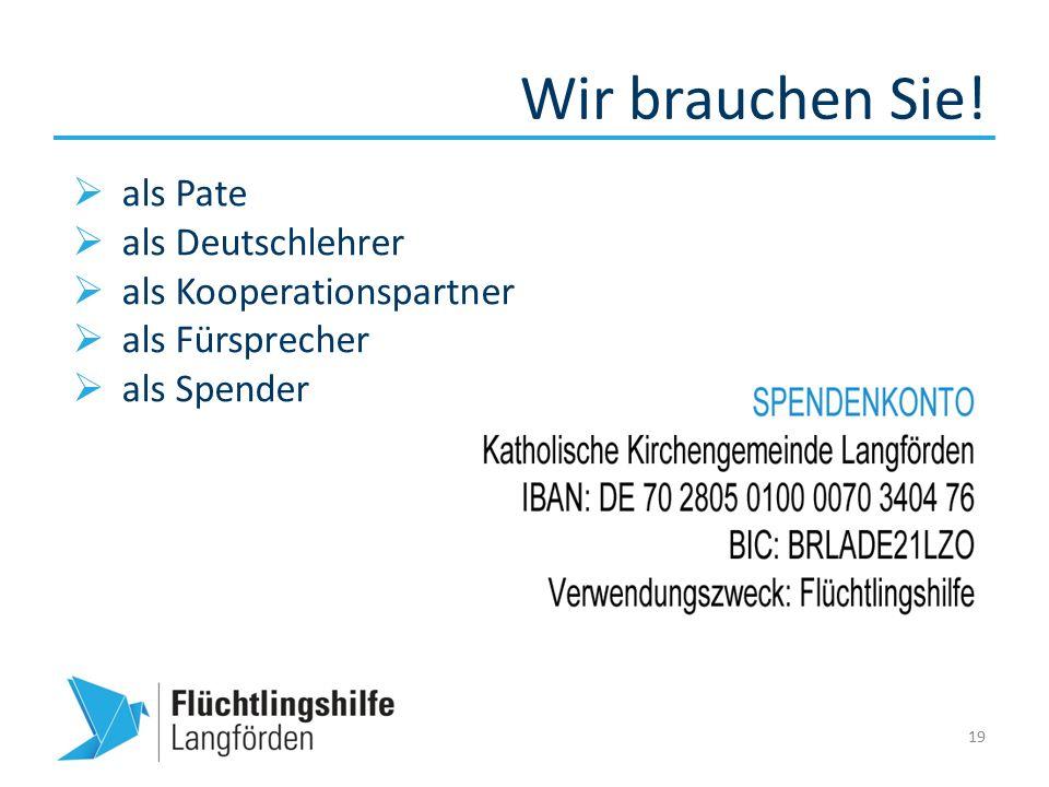 Wir brauchen Sie! 19  als Pate  als Deutschlehrer  als Kooperationspartner  als Fürsprecher  als Spender