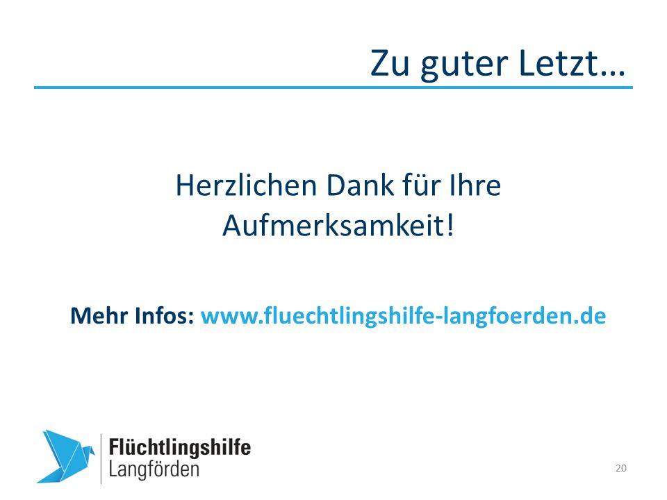 Zu guter Letzt… 20 Mehr Infos: www.fluechtlingshilfe-langfoerden.de Herzlichen Dank für Ihre Aufmerksamkeit!