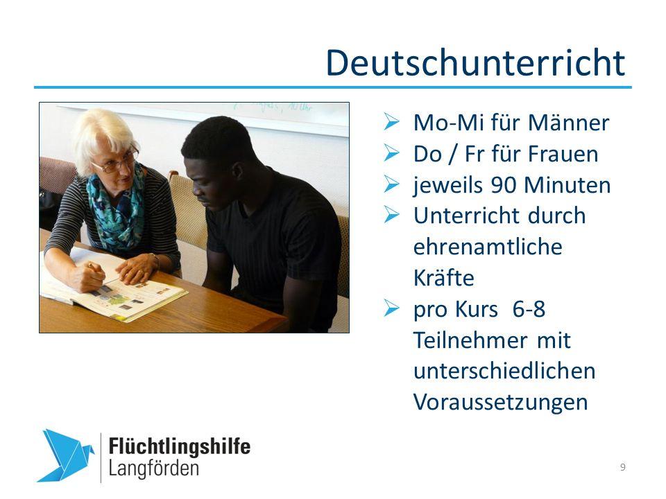 Deutschunterricht 9  Mo-Mi für Männer  Do / Fr für Frauen  jeweils 90 Minuten  Unterricht durch ehrenamtliche Kräfte  pro Kurs 6-8 Teilnehmer mit unterschiedlichen Voraussetzungen