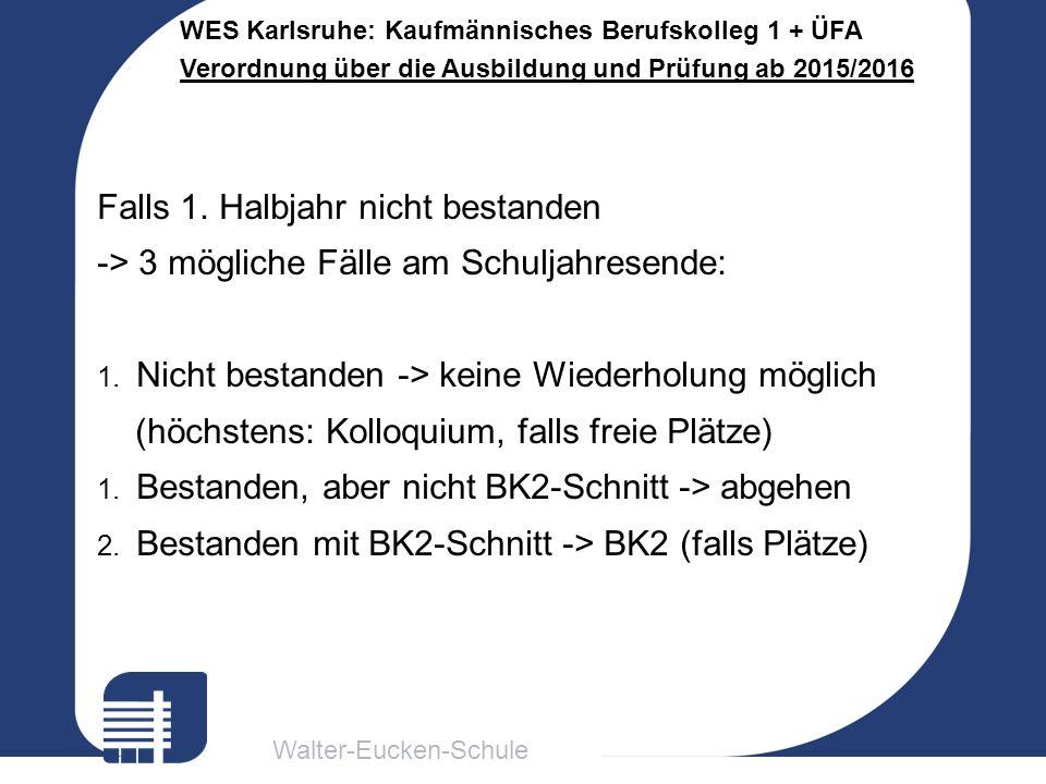 Walter-Eucken-Schule WES Karlsruhe: Kaufmännisches Berufskolleg 1 + ÜFA Verordnung über die Ausbildung und Prüfung ab 2015/2016 Falls 1.