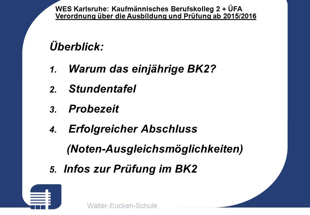 Walter-Eucken-Schule WES Karlsruhe: Kaufmännisches Berufskolleg 2 + ÜFA Verordnung über die Ausbildung und Prüfung ab 2015/2016 Überblick: 1.