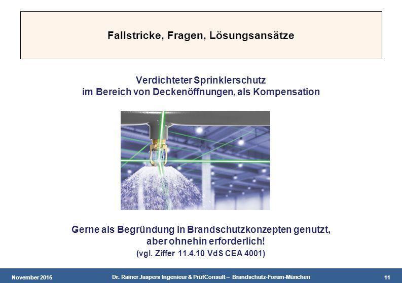 November 2015 Dr. Rainer Jaspers Ingenieur & PrüfConsult – Brandschutz-Forum-München 11 Fallstricke, Fragen, Lösungsansätze Verdichteter Sprinklerschu