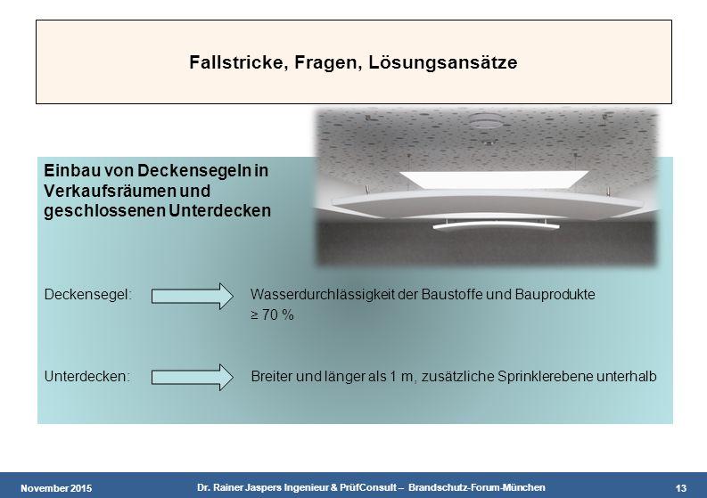 November 2015 Dr. Rainer Jaspers Ingenieur & PrüfConsult – Brandschutz-Forum-München 13 Fallstricke, Fragen, Lösungsansätze Einbau von Deckensegeln in