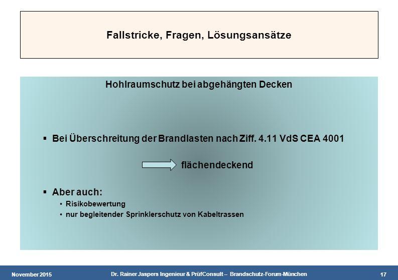 November 2015 Dr. Rainer Jaspers Ingenieur & PrüfConsult – Brandschutz-Forum-München 17 Fallstricke, Fragen, Lösungsansätze Hohlraumschutz bei abgehän