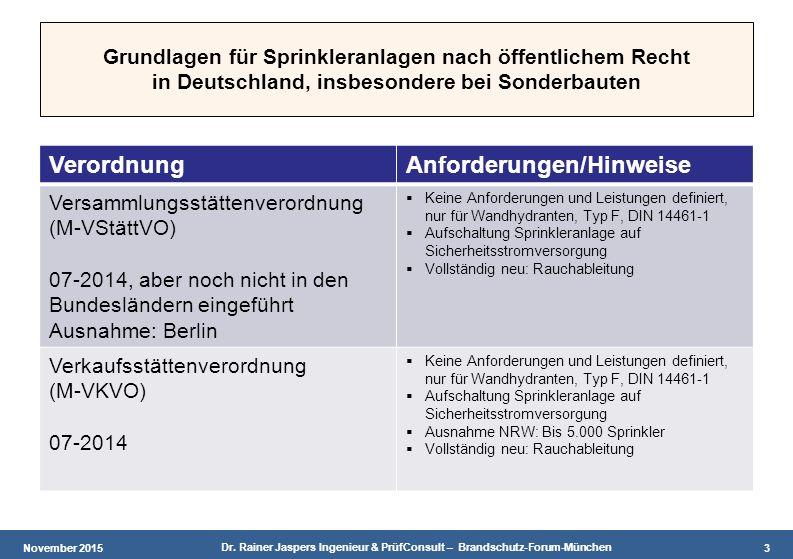 November 2015 Dr. Rainer Jaspers Ingenieur & PrüfConsult – Brandschutz-Forum-München 3 Grundlagen für Sprinkleranlagen nach öffentlichem Recht in Deut