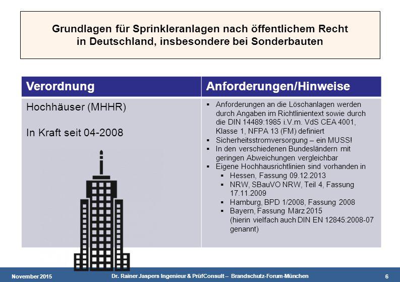 November 2015 Dr. Rainer Jaspers Ingenieur & PrüfConsult – Brandschutz-Forum-München 6 Grundlagen für Sprinkleranlagen nach öffentlichem Recht in Deut