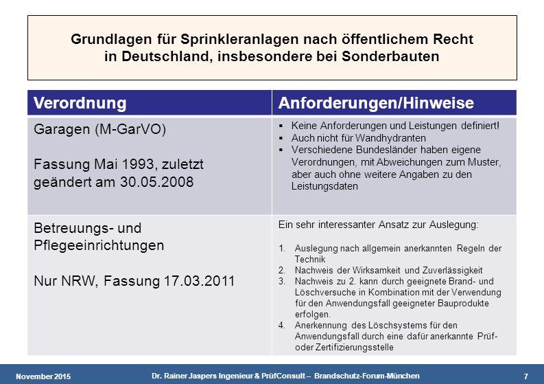 November 2015 Dr. Rainer Jaspers Ingenieur & PrüfConsult – Brandschutz-Forum-München 7 Grundlagen für Sprinkleranlagen nach öffentlichem Recht in Deut
