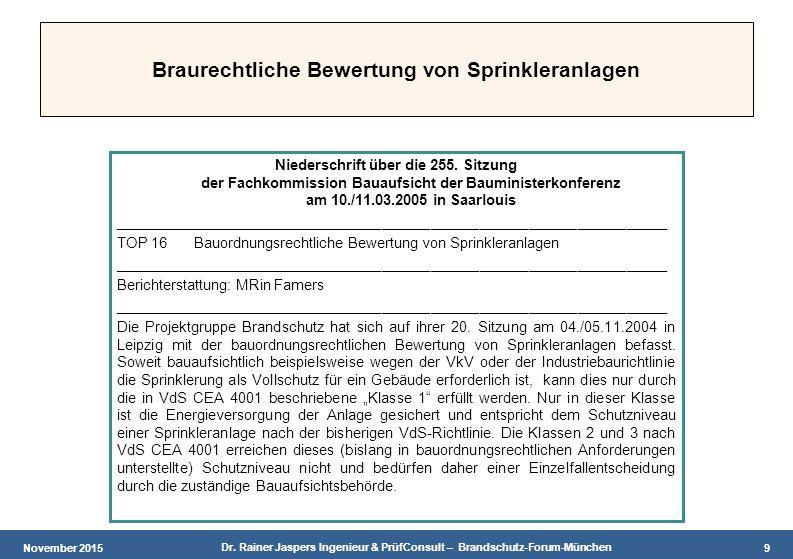 November 2015 Dr. Rainer Jaspers Ingenieur & PrüfConsult – Brandschutz-Forum-München 9 Braurechtliche Bewertung von Sprinkleranlagen Niederschrift übe