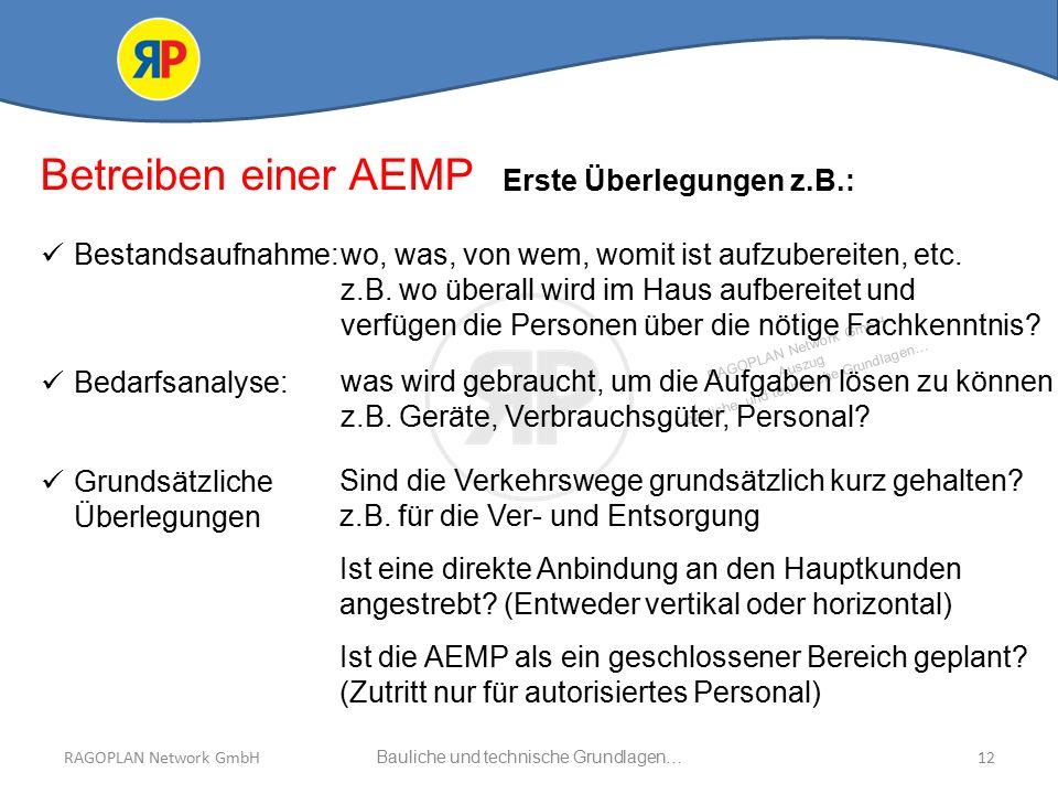RAGOPLAN Network GmbH Auszug bauliche und technische Grundlagen… 12Bauliche und technische Grundlagen…RAGOPLAN Network GmbH Betreiben einer AEMP Erste Überlegungen z.B.: Bestandsaufnahme: Bedarfsanalyse: wo, was, von wem, womit ist aufzubereiten, etc.