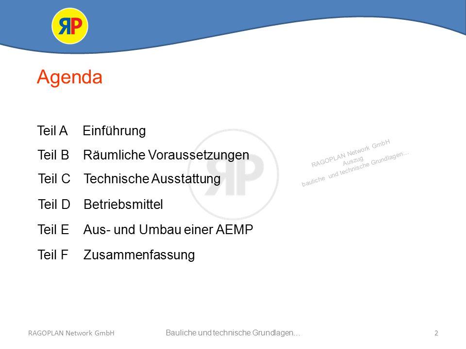 RAGOPLAN Network GmbH Auszug bauliche und technische Grundlagen… 3Bauliche und technische Grundlagen…RAGOPLAN Network GmbH  Was muss beachtet werden.