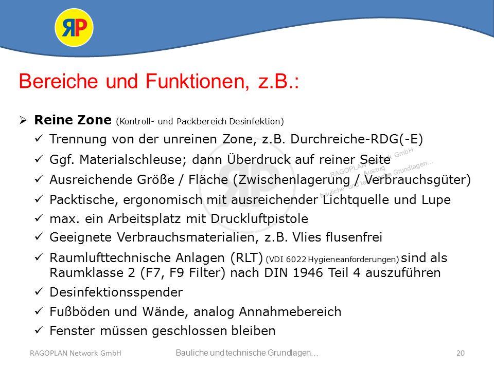 RAGOPLAN Network GmbH Auszug bauliche und technische Grundlagen… 20Bauliche und technische Grundlagen…RAGOPLAN Network GmbH Bereiche und Funktionen, z.B.:  Reine Zone (Kontroll- und Packbereich Desinfektion) Trennung von der unreinen Zone, z.B.