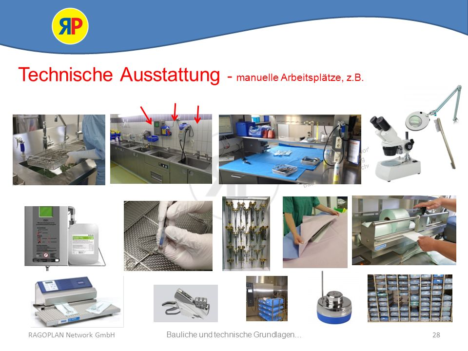 RAGOPLAN Network GmbH Auszug bauliche und technische Grundlagen… 28Bauliche und technische Grundlagen…RAGOPLAN Network GmbH Technische Ausstattung - manuelle Arbeitsplätze, z.B.