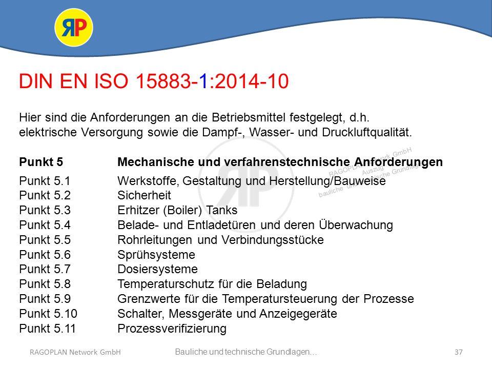 RAGOPLAN Network GmbH Auszug bauliche und technische Grundlagen… 37Bauliche und technische Grundlagen…RAGOPLAN Network GmbH DIN EN ISO 15883-1:2014-10 Hier sind die Anforderungen an die Betriebsmittel festgelegt, d.h.