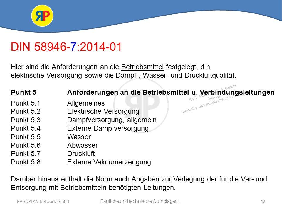 RAGOPLAN Network GmbH Auszug bauliche und technische Grundlagen… 42Bauliche und technische Grundlagen…RAGOPLAN Network GmbH DIN 58946-7:2014-01 Hier sind die Anforderungen an die Betriebsmittel festgelegt, d.h.