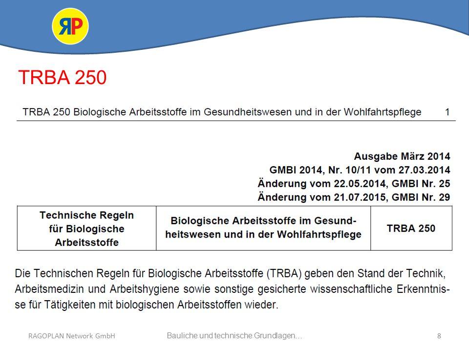RAGOPLAN Network GmbH Auszug bauliche und technische Grundlagen… 39Bauliche und technische Grundlagen…RAGOPLAN Network GmbH DIN EN ISO 15883-1:2014-10 Mechanische und verfahrenstechnische Anforderungen Punkt 5.24 Lüftungs- und Abflusssysteme Punkt 5.25 Entwässerung Punkt 5.26In das RDG eingebaute Luftfilter Punkt 5.27Handhabung der Beladung/Beladungsträger Verwendung im RDG Punkt 5.28Transportwagen Punkt 5.29Umgebungsbedingungen DIN EN ISO 15883-2:2009-09 Punkt 5Mechanische und steuerungstechnische Anforderungen Punkt 5.1 Konnektoren für die Beladung Punkt 5.2 Regel- und Steuersysteme Punkt 5.3Prozessverifizierung