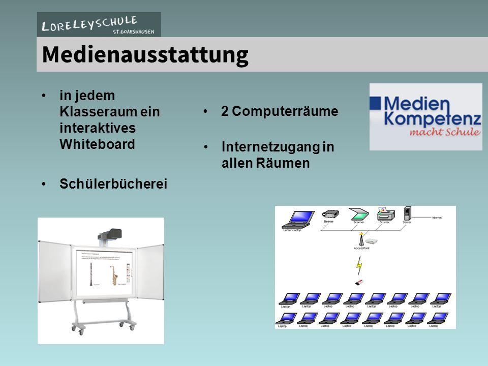2 Computerlabore / Laptopeinsatz Medienausstattung in jedem Klasseraum ein interaktives Whiteboard 2 Computerräume Internetzugang in allen Räumen Schü