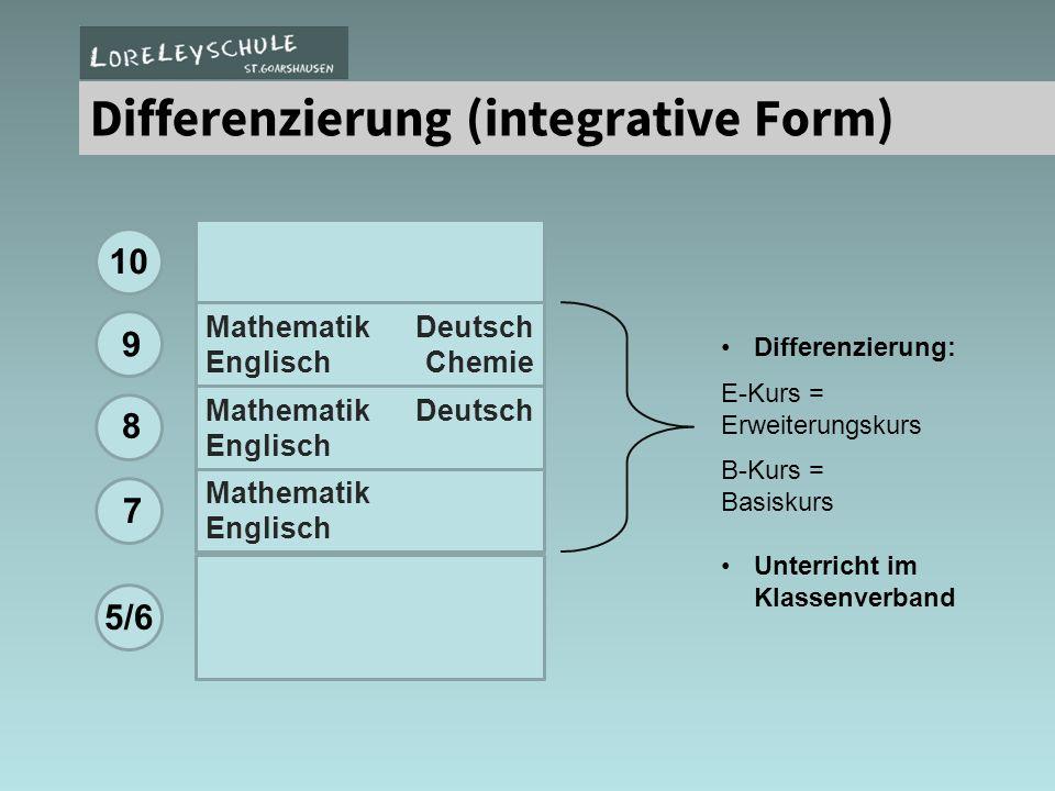 Mathematik Deutsch Englisch Chemie Mathematik Deutsch Englisch Mathematik Englisch 10 5/6 9 8 7 Differenzierung: E-Kurs = Erweiterungskurs B-Kurs = Ba