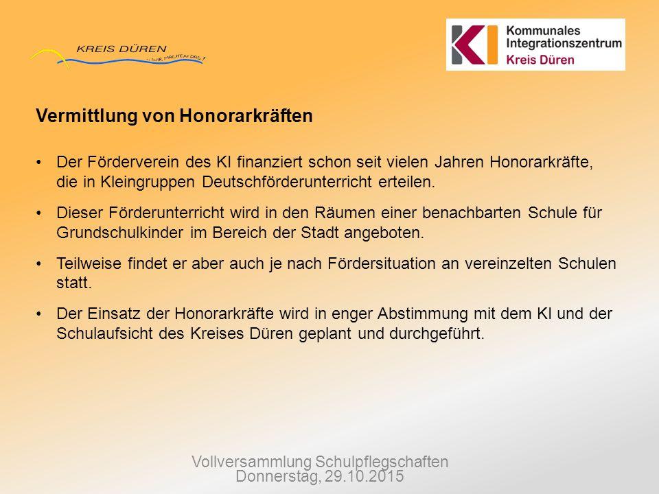 Vollversammlung Schulpflegschaften Donnerstag, 29.10.2015 Vermittlung von Honorarkräften Der Förderverein des KI finanziert schon seit vielen Jahren H