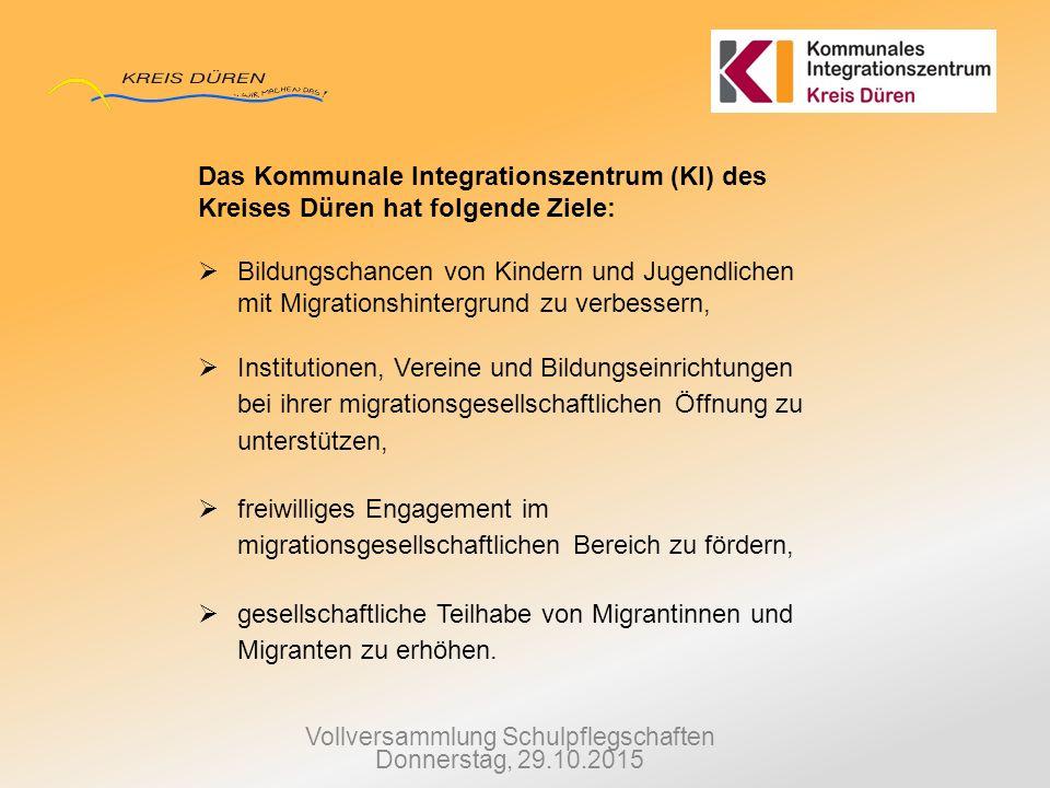 Vollversammlung Schulpflegschaften Donnerstag, 29.10.2015 Das Kommunale Integrationszentrum (KI) des Kreises Düren hat folgende Ziele:  Bildungschanc