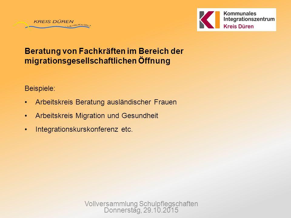Vollversammlung Schulpflegschaften Donnerstag, 29.10.2015 Beratung von Fachkräften im Bereich der migrationsgesellschaftlichen Öffnung Beispiele: Arbe