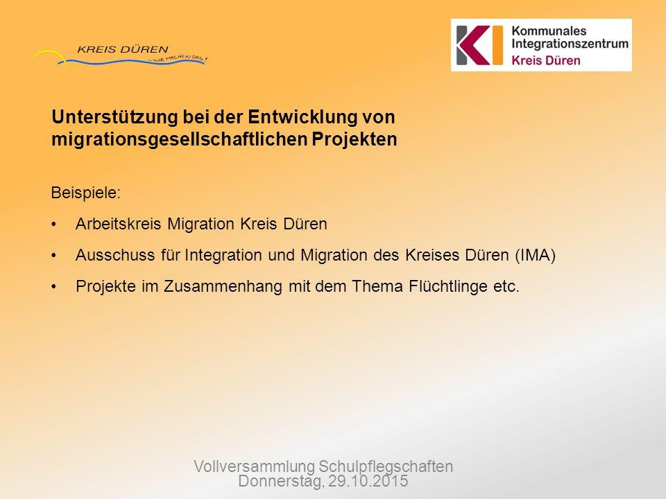 Vollversammlung Schulpflegschaften Donnerstag, 29.10.2015 Unterstützung bei der Entwicklung von migrationsgesellschaftlichen Projekten Beispiele: Arbe