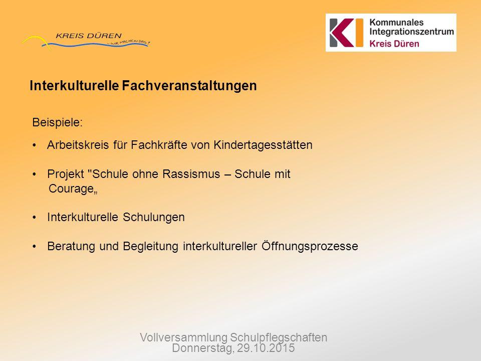 Vollversammlung Schulpflegschaften Donnerstag, 29.10.2015 Interkulturelle Fachveranstaltungen Beispiele: Arbeitskreis für Fachkräfte von Kindertagesst